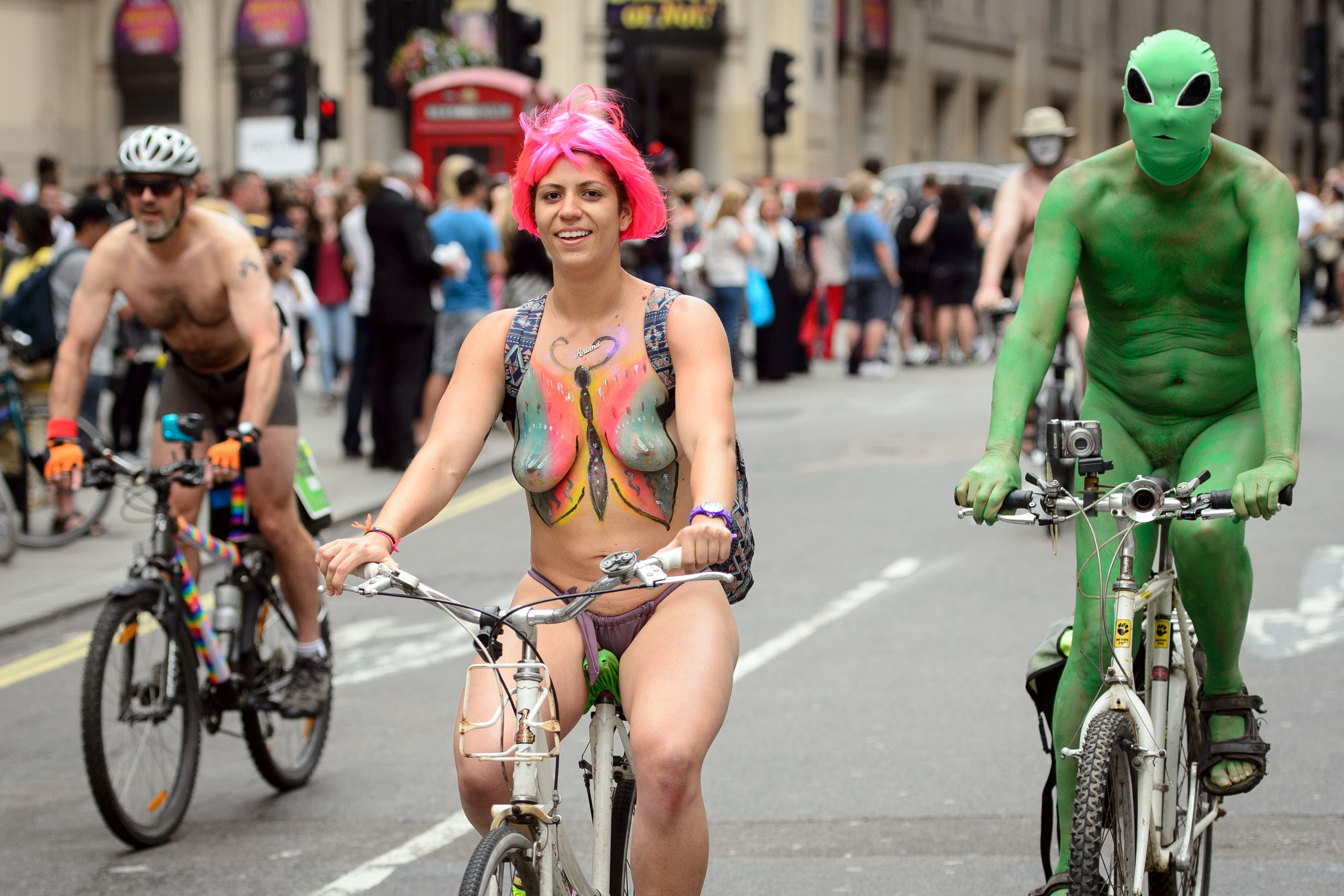 Cyclists Take Part In The Annual World Naked Bike Ride In -7463